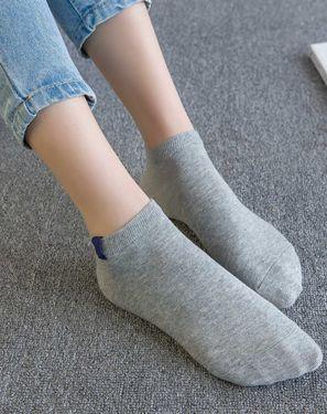 女袜 纤丝鸟5双装男女款情侣款短袜韩风时尚布标透气短袜船袜 男女袜子