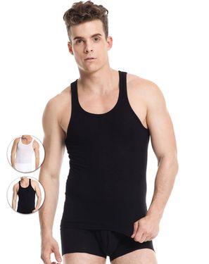 男士打底背心 (2枚装)纯棉灯芯弹力紧身 圆领吊带背心男背心打底背心男运动男士背心