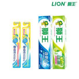 狮王 4件套  劲爽白牙膏*2+细齿洁弹力护龈牙刷*2