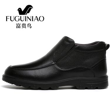 富贵鸟 冬季男士皮鞋男鞋真皮休闲棉鞋加绒加厚中年爸爸鞋父亲鞋 D803202R+AR