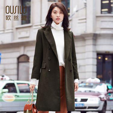 欧丝璐 新款气质时尚中长款秋冬长袖外套羊毛呢大衣女91070