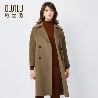 欧丝璐 秋冬新款呢大衣外套女 韩版中长款翻驳领毛呢大衣女97766