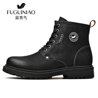 富贵鸟 秋冬新款户外百搭牛皮短靴青年休闲皮靴潮马丁靴高帮鞋 D845182