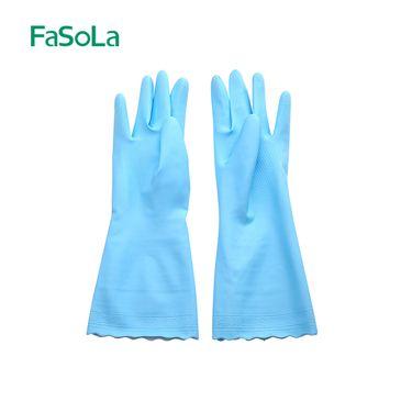 FASOLA 洗碗手套加绒厨房刷碗耐用型胶皮塑胶橡胶家务防水家用洗衣衣服