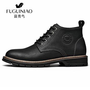 富贵鸟 秋冬新款潮流简约百搭牛皮短靴青年休闲皮靴潮高帮鞋 D848193