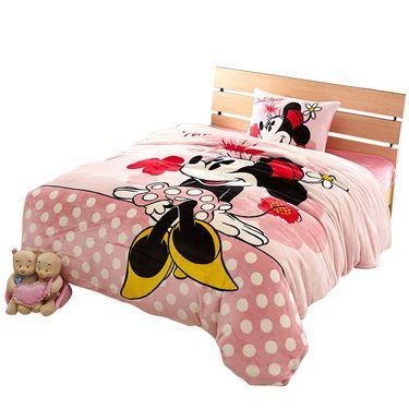 DISNEY 迪士尼 卡通儿童床上用品 法兰绒秋冬保暖三件套四件套-悠闲米妮