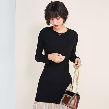 欧丝璐 秋冬新款羊毛衫女纯羊毛 圆领套头韩版中长款开叉毛衣 86009