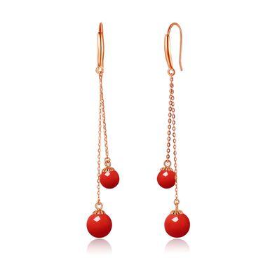 仙蒂瑞拉 4-6mm 时尚沙丁红珊瑚18K金耳环耳饰