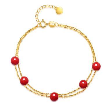 仙蒂瑞拉 5mm天然沙丁红18K金珊瑚手链