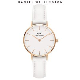 Daniel Wellington 丹尼尔惠灵顿 手表DW女表32mm金色边白盘白皮带女士手表学生手表 DW00100189