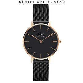 Daniel Wellington 丹尼尔惠灵顿DW手表女 新款32mm石英表金边黑色钢带欧美简约风格手表DW00100201