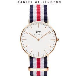 Daniel Wellington 丹尼尔惠灵顿 DW女表  三色尼龙表带36mm金边超薄石英表