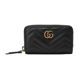 GUCCI 古驰 GG金属logo装饰女士黑色牛皮小型皮具卡包#498127 DSVRT 1000 联正国际