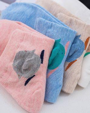 女袜 (5双装)女士袜子可爱卡通棉袜女女袜夏季袜子船袜女隐形短袜