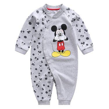 迪士尼【正品特卖】男童棉毛布斜襟长袖连体衣