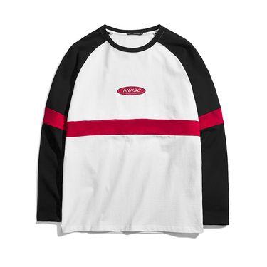 男式T恤 2018秋季男款T恤撞色拼接设计款