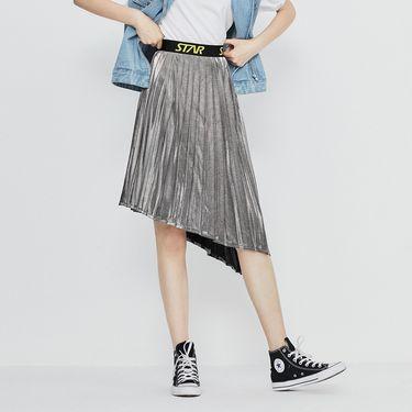 半截裙 不规则半身裙2018秋季新款银色中长款百褶裙拼接A字裙太平鸟女装