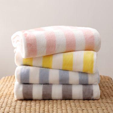 ABS 爱彼此 时尚条纹法兰绒毛毯 多色随机