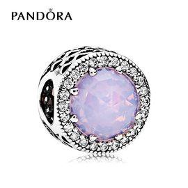 PANDORA 潘多拉 淡粉色闪亮的心925银混合石材串珠791725NOP