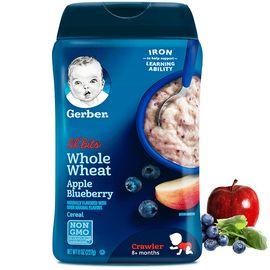嘉宝 Gerber3段全麦谷物苹果蓝莓混米粉 227g 8个月以上  保质期至19年1月  美国  候鸟海外专营店