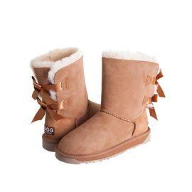 Ever UGG 11837双后蝴蝶结雪地靴女 皮毛一体中筒女鞋 澳洲进口 IVY