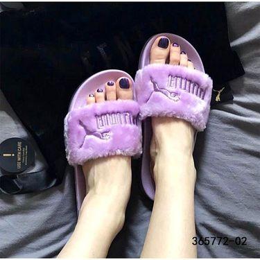 PUMA彪马 鞋2018春FENTY Fur蕾哈娜毛绒运动休闲女拖鞋365772