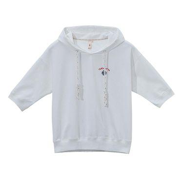 初语 女装2018春装新款刺绣连帽中袖五分袖宽松T恤女纯棉文艺短袖上衣8720121024