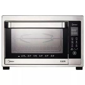 美的MIDEA 家用多功能智能烘焙烤箱38L电烤箱石窑智能独立温控银色T7-389D