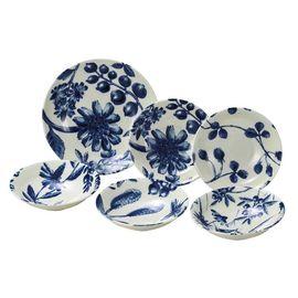 AITO  日本原产Botamical美浓烧陶瓷餐盘餐碗碟子 6件套装