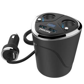 飞利浦 (PHILIPS)车载充电器 一拖二点烟器车充杯 双USB接口带独立开关电压监测 DLP2029黑色