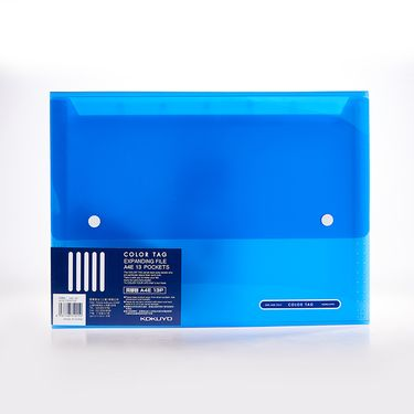 KOKUYO /国誉风琴包WCN-TDF6110B蓝色COLOR TAG 风琴包文件夹本册资料试卷分类收纳袋文件袋A4