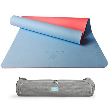 哈他 初学防滑瑜伽垫tpe无味加长加宽双色双面183cm健身垫子