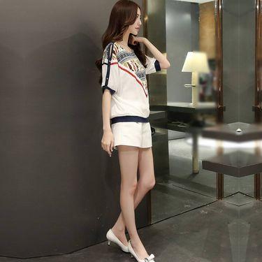 乔伊思 夏季新品时尚百搭圆领印花拼接撞色蝙蝠袖女款雪纺衫W525767