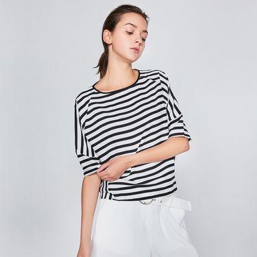 VEE 女装春夏新款黑条纹色条纹雪纺衫E715483