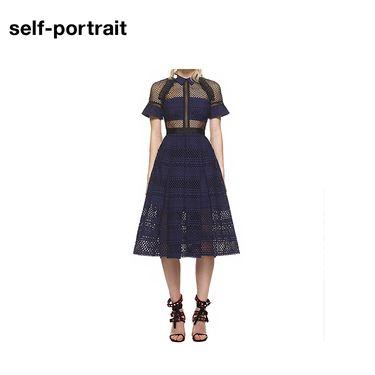 Self Portrait Self-Portrai 连衣裙 SP14030  镂空长款 藏蓝色