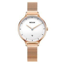 Nesun尼尚 女士手表钢带防水石英表超薄学生时尚潮流 简约款 玫白 LS8806A