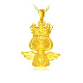 古钻 GZUAN古钻 皇冠天使 黄金吊坠 女士吊坠送女友 3D硬金YJD0001 约2.13g