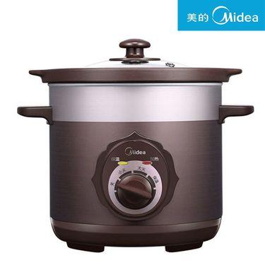 美的 电炖锅陶瓷3L煮汤粥煲宝宝煲家用电砂锅 茶色TGH30C