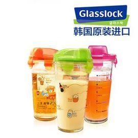 Glasslock 玻璃杯便携水杯创意带盖杯子带刻度茶杯车载摇摇杯(颜色随机)