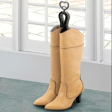 SANADA 日本进口鞋子收纳架 靴夹 靴撑 长筒靴夹子 靴立架 防变形靴架 黑色