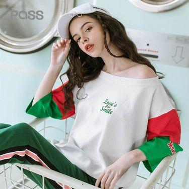 PASS 女装潮牌2018夏装新款拼色纯棉t恤女七分袖宽松拼接心机上衣设计感6820121104