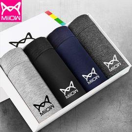 Miiow/猫人 男士内裤棉质无痕透气四季薄款男平角裤4条装