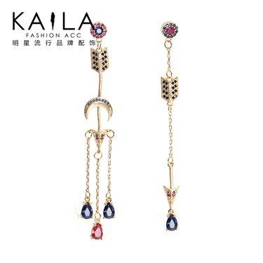 KAILA 宙斯守护耳环 女925银针韩国气质长款流苏潮人显脸瘦的超仙 925银针