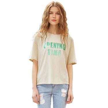 A21 夏季新款圆领短袖T恤女 夏季镂空字母印花体恤宽松舒适短上衣4822330015