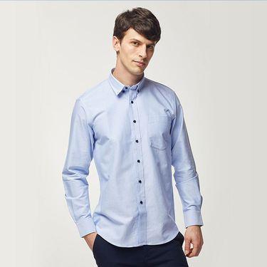 三枪 海螺衬衫男长袖夏季纯棉扣领白休闲光滑衬衣全棉牛津纺男士寸衫