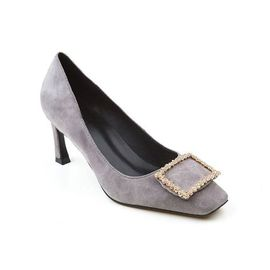 Ozwear UGG OB304  春夏新款羊绒鞋面浅口方头方扣7cm细跟高跟鞋IVY