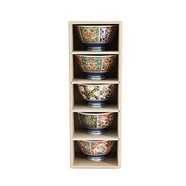 MORITOKU 日本进口家用陶瓷餐具日式和风釉上彩有田烧5入木盒套装 ASA-1A 古伊萬裏5件套
