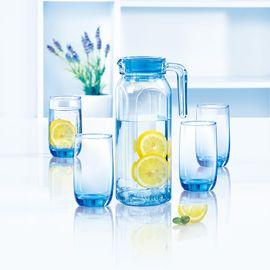 乐美雅 (Luminarc)冰蓝钢化玻璃凝彩直身壶水具5件套L1769