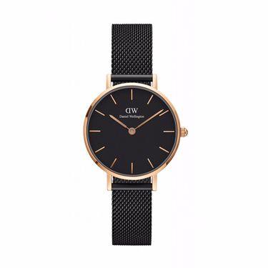 Daniel Wellington 丹尼尔惠灵顿DW女表新款石英手表金属编织带黑盘黑色钢带32mm 候鸟