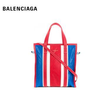 Balenciaga 巴黎世家  男女同款皮质条纹浮雕LOGO单肩包手提包 红白拼蓝  大号  洲际速买